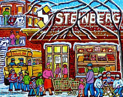 Painting - Steinberg's Grocery Montreal Memories Winter Scene Hockey Art Canadian Painting Carole Spandau       by Carole Spandau