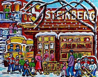 Painting - Steinberg's Montreal Landmark Painting School Bus Hockey Art Canadian Winter Scene Carole Spandau    by Carole Spandau