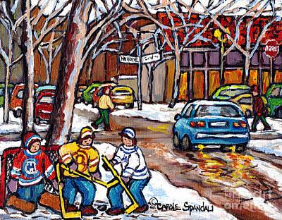 Painting - Steinberg's Van Horne Montreal Winterscene Paintings For Sale Goalie And Hockey Pals C Spandau Art by Carole Spandau
