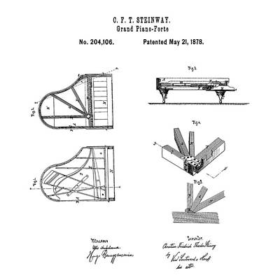 1878 Digital Art - Steinway Grand Piano Patent 1878 by Bill Cannon