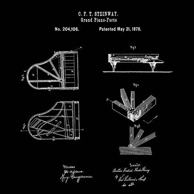 1878 Digital Art - Steinway Grand Piano Patent 1878 In Black by Bill Cannon
