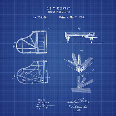 1878 Digital Art - Steinway Grand Piano Patent 1878 In Blueprint by Bill Cannon