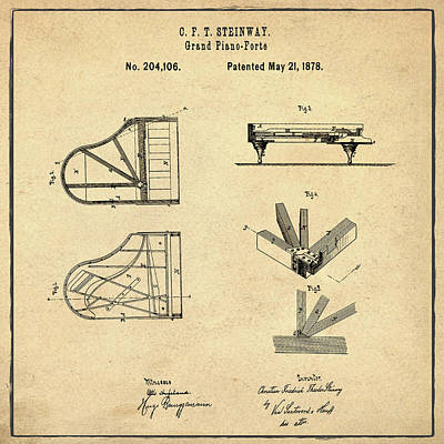 1878 Digital Art - Steinway Grand Piano Patent 1878 In Sepia by Bill Cannon