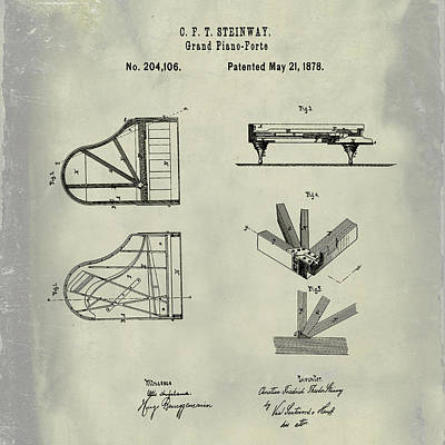 1878 Digital Art - Steinway Grand Piano Patent 1878 In Weathered by Bill Cannon
