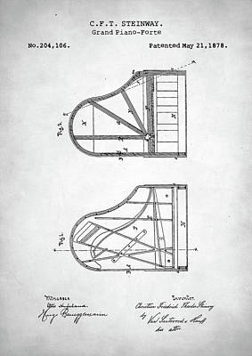 Digital Art - Steinway Grand Piano Patent by Taylan Apukovska