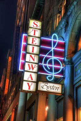 Photograph - Steinway Piano Neon Sign - Boston by Joann Vitali