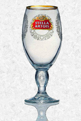 Etched Glass Painting - Stella Artois Chalice Painting Collectable by Tony Rubino