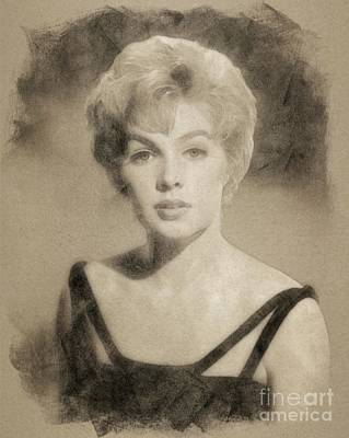 Musician Drawings - Stella Stevens, Vintage Actress by John Springfield by John Springfield