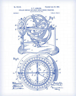 Digital Art - Stellar Compass Patent by Gary Grayson