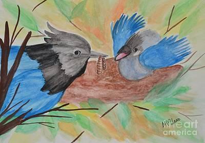 Stellar Painting - Stellar's Jay And Fledgling by Maria Urso