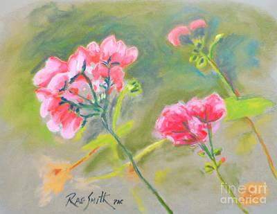 Pastel - Stellas Geraniums by Rae  Smith PAC