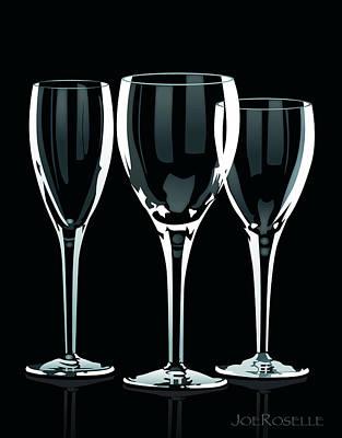 Wine Reflection Art Digital Art - Stemware by Joe Roselle