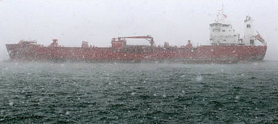 Photograph - Sten Baltic In Snowstorm Panorama by Mary Bedy