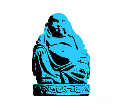 Banksy Digital Art - Stencil Buddha by Pixel Chimp