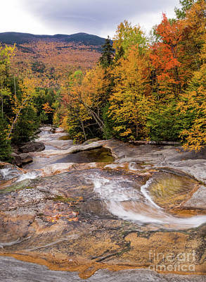 Photograph - Step Falls In Autumn, Newry, Maine #40149-150 by John Bald