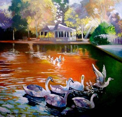 Painting - Stephens Green Dublin Ireland by Paul Weerasekera