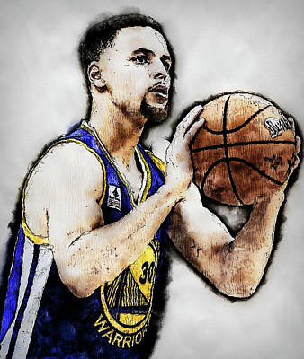 Painting - Steph Curry, Golden State Warriors - 16 by Andrea Mazzocchetti