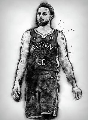 Painting - Steph Curry, Golden State Warriors - 18 by Andrea Mazzocchetti