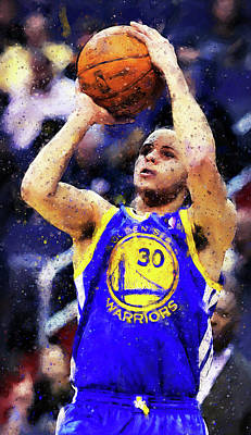 Painting - Steph Curry, Golden State Warriors - 19 by Andrea Mazzocchetti