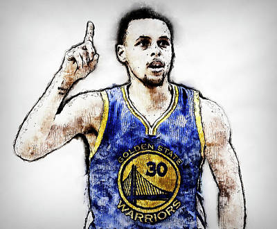Painting - Steph Curry, Golden State Warriors - 20 by Andrea Mazzocchetti