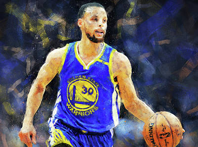 Painting - Steph Curry, Golden State Warriors - 21  by Andrea Mazzocchetti