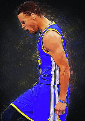 Kobe Bryant Digital Art - Steph Curry by Semih Yurdabak