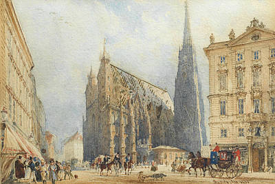 Alt Painting - Stephansplatz In Vienna With The Cathedral by Rudolf von Alt