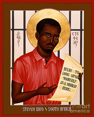 Painting - Stephen Biko Of South Africa - Rlstb by Br Robert Lentz OFM