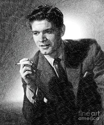 Musicians Drawings - Stephen Boyd, Vintage Actor by JS by John Springfield