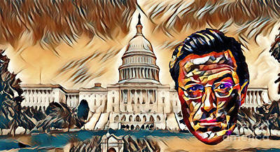 Capitol Building Painting - Stephen Colbert Washington Abstract  by Pd