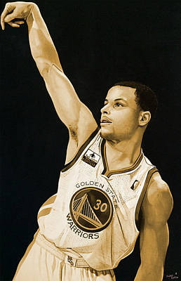 Stephen Curry Golden State Warriors   Print by Michael  Pattison