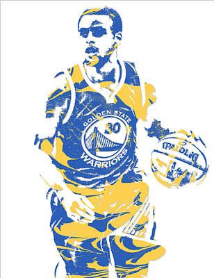 Mixed Media - Stephen Curry Golden State Warriors Pixel Art 21 by Joe Hamilton