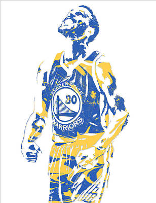 Mixed Media - Stephen Curry Golden State Warriors Pixel Art 22 by Joe Hamilton