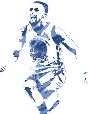 Free Mixed Media - Stephen Curry Golden State Warriors Pixel Art 4 by Joe Hamilton
