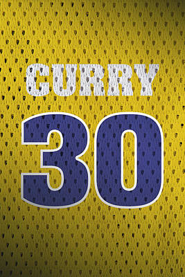 Closeup Mixed Media - Stephen Curry Golden State Warriors Retro Vintage Jersey Closeup Graphic Design by Design Turnpike