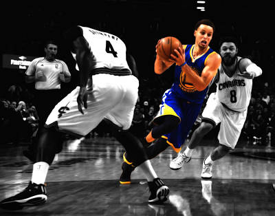 Mixed Media - Stephen Curry On The Move by Brian Reaves