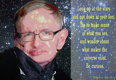 Mixed Media - Stephen Hawking Poster by Dan Sproul