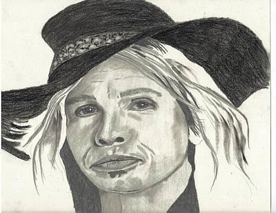 Aerosmith Drawing - Stephen In Half Mode by DebiJeen Pencils