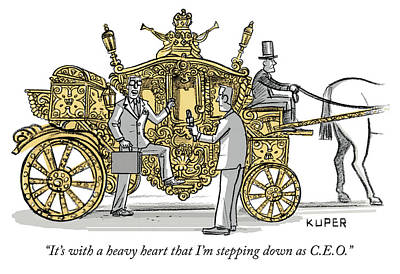 Drawing - Stepping Down As Ceo by Peter Kuper