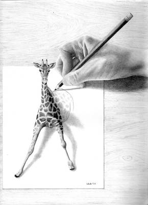 Giraffe Drawing - Stepping Out by Selinda Van Horn