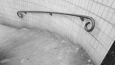 Photograph - Steps And Rail Nyc B W 1 by Rob Hans