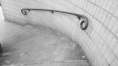 Photograph - Steps And Rail Nyc B W 2 by Rob Hans
