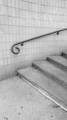 Photograph - Steps And Rail Nyc B W by Rob Hans