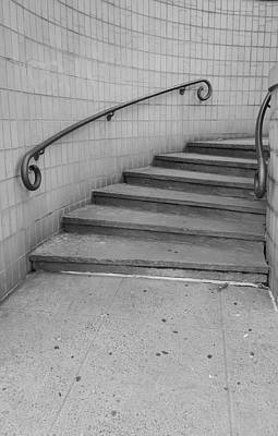 Photograph - Steps And Rails Nyc B W by Rob Hans