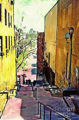 City Scenes Mixed Media - Steps at 187 Street by Sarah Loft