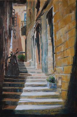 Birgu Painting - Steps by Diane Agius