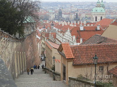 Antique Maps - Steps down from Prague Castle by Margaret Brooks