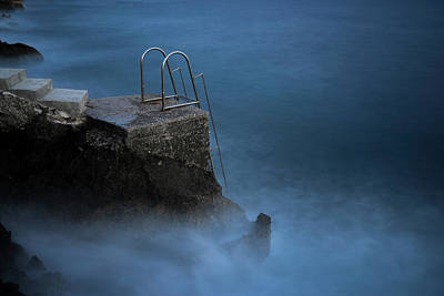 Swim Ladder Photograph - Steps Into Sea by Michael Robbins