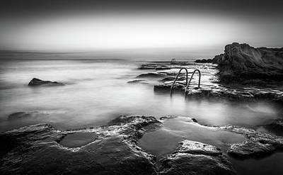 Photograph - Steps Into The Sea Bw by Gary Gillette