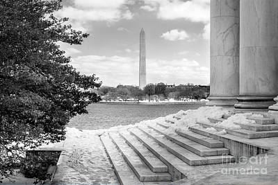 Photograph - Steps Of The Jefferson Winter In Springtime Black And White by Karen Jorstad